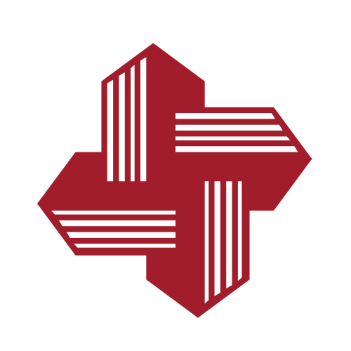 Red Buildings and Arrows Logo