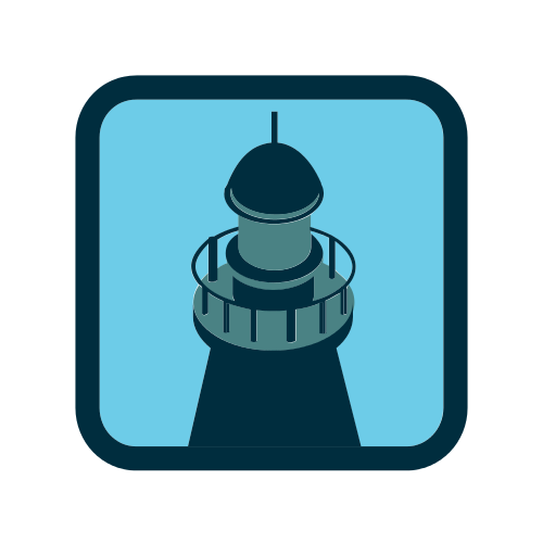 Blue Lighthouse Tower Logo