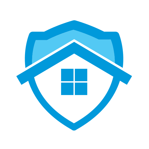 Blue Roof Shield  Logo