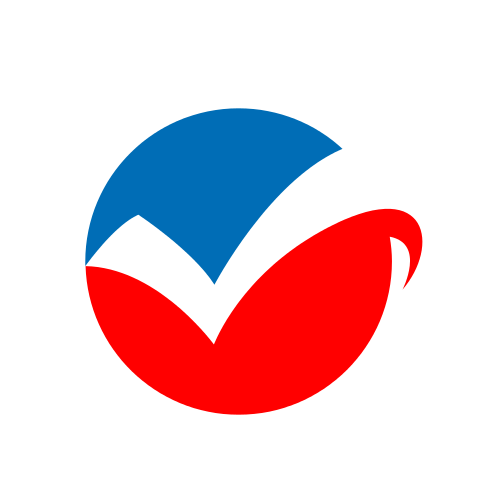 Red and Blue Check Mark Logo
