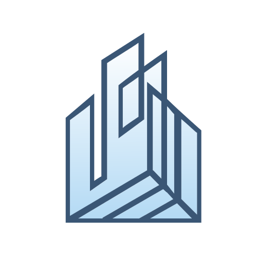 Blue Building Shape Logo