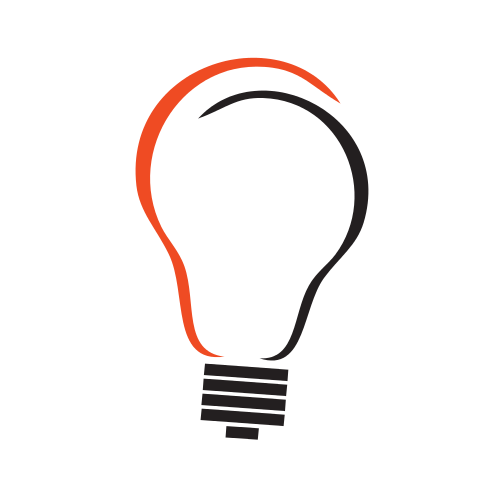 Red and Blue Light Bulb Logo