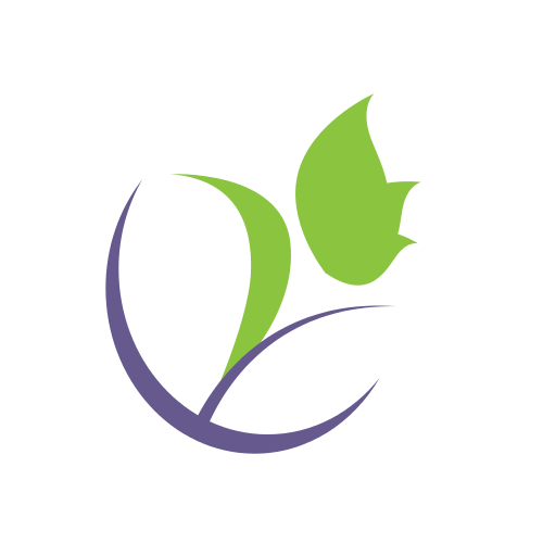 Green Purple Flower  Logo