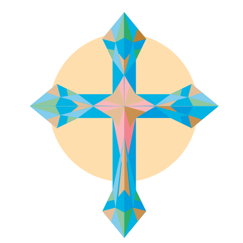 Colroful Religious Cross  Logo