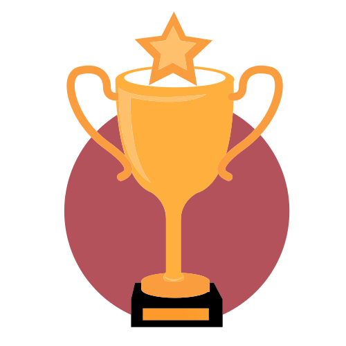 trophy, star, circle, yellow, red,