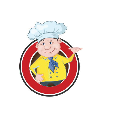 Cartoon Pizza Chef  Logo