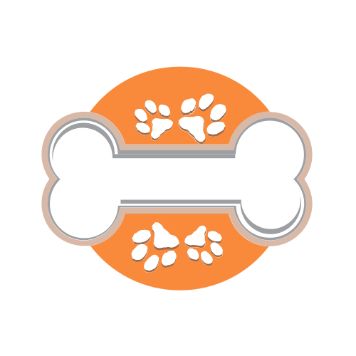 Orange Dog Paws and Bone Logo