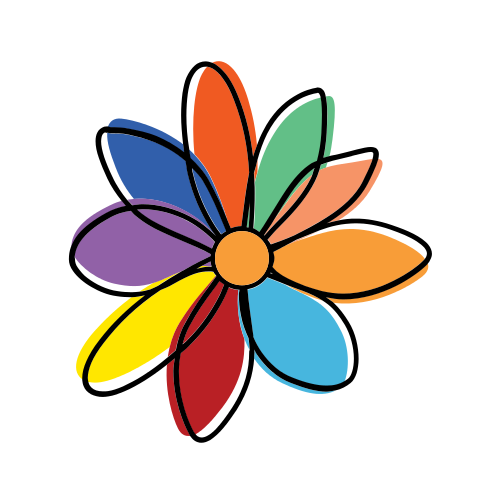Colorful Painted Flower  Logo