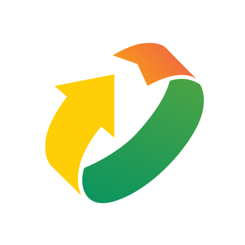 Green, Yellow and Orange Arrow Logo