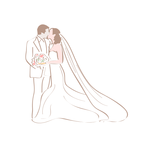 Kissing Wedding Couple  Logo