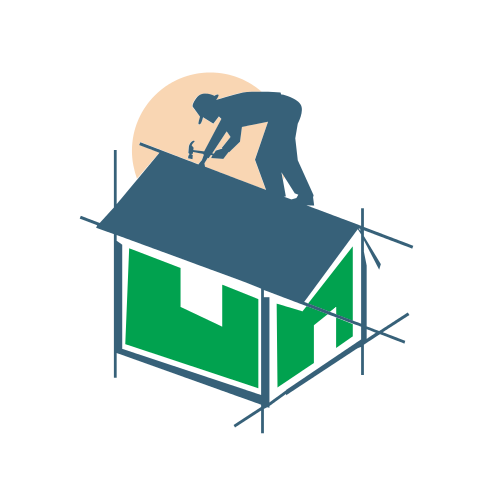 Roofing Construction Worker  Logo