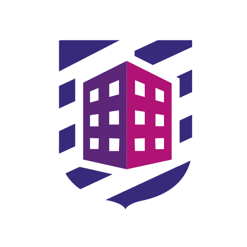 Purple Building and Shield