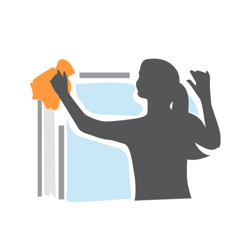 Woman Cleaning Window  Logo