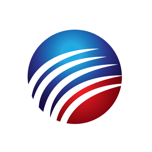 Red and Blue Globe Logo