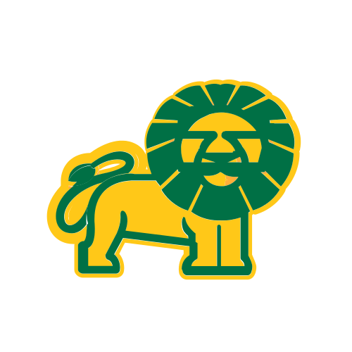 Yellow and Green Lion Logo