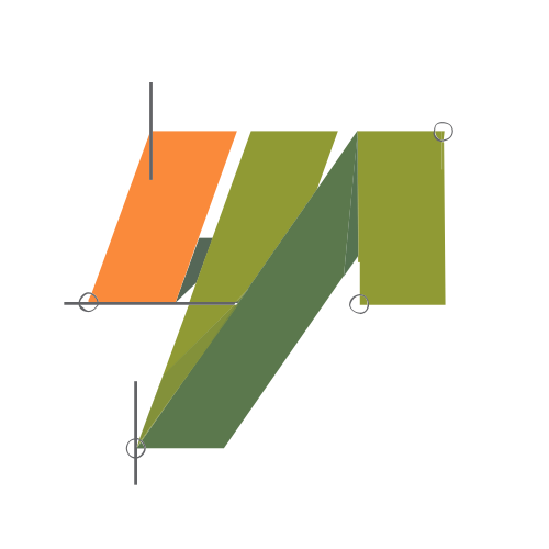 Orange and Green Drawing and Shapes Logos