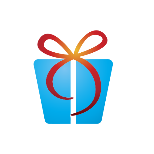 Blue Gift Red Ribbon Logo