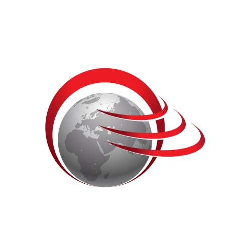 Red Globe Swirls  Logo