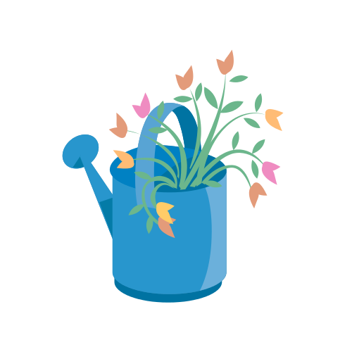 Watering Can and Flowers Logo