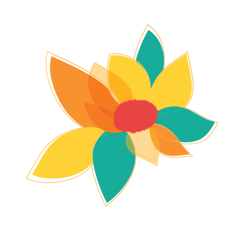 Overlapping Floral Petals  Logo
