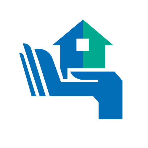 Blue and Green Hand House Logo