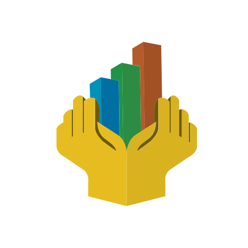 Yellow Hands and Bar Graphs Logo