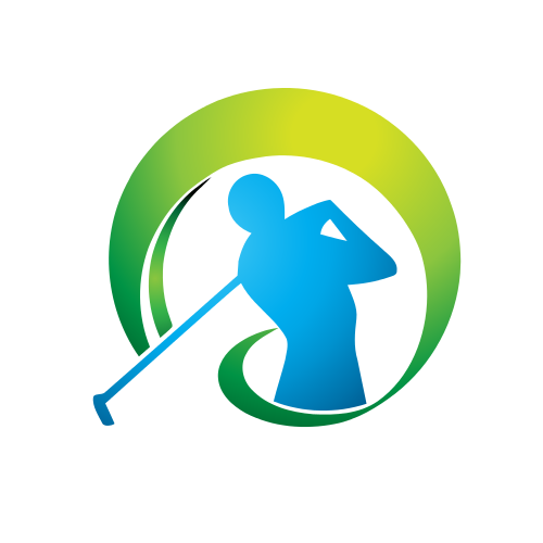 golfer, swing , green, blue, circle,