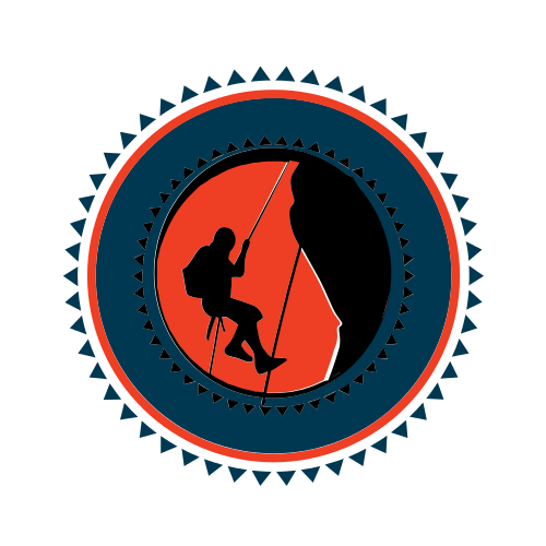 rock climbing, rappelling, abseiling, circle, red, black