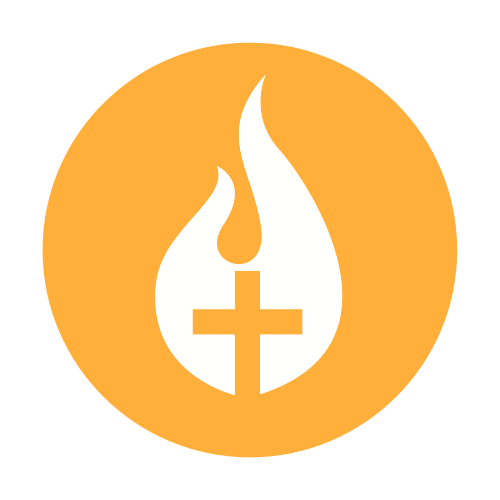 Orange Religious Flame Logo