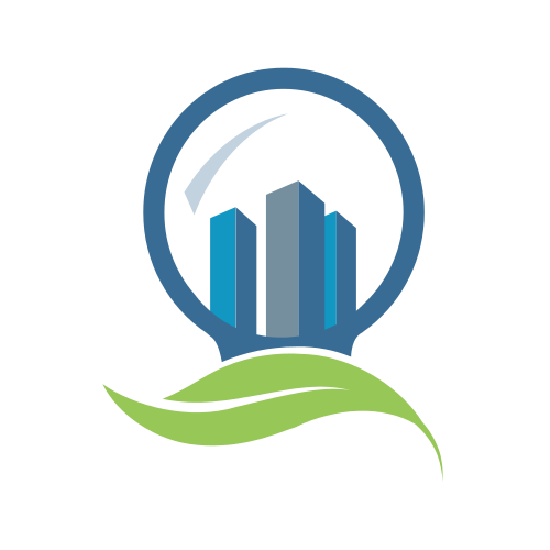 Blue City Green Leaf Logo