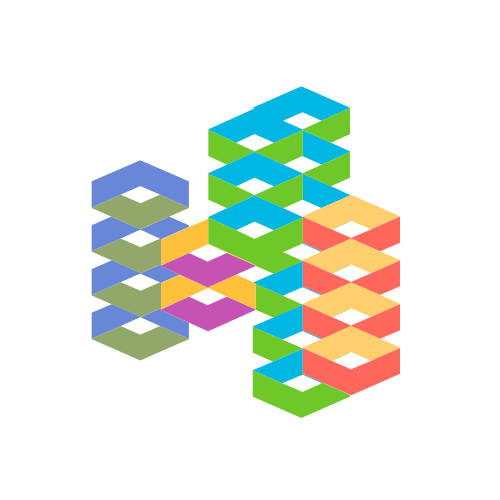 Colorful Patterns and Stacks Logo