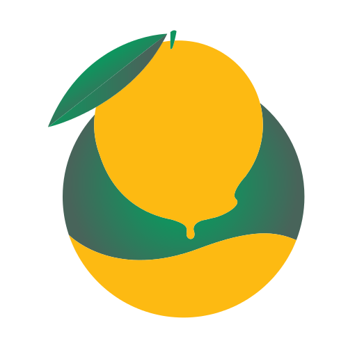Orange Fruit Leaves Logo