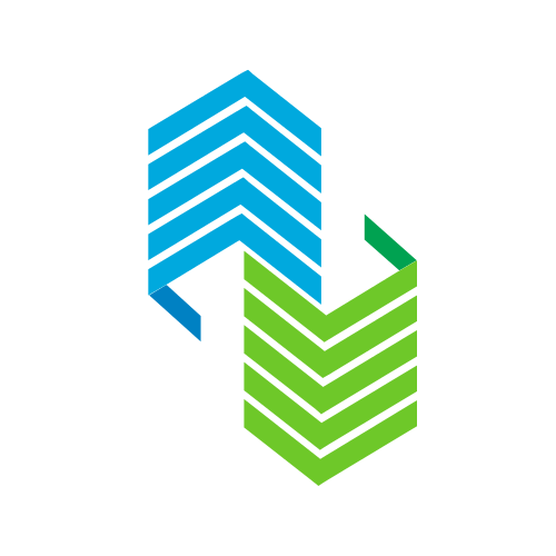 Blue and Green Building and Arrow Logo