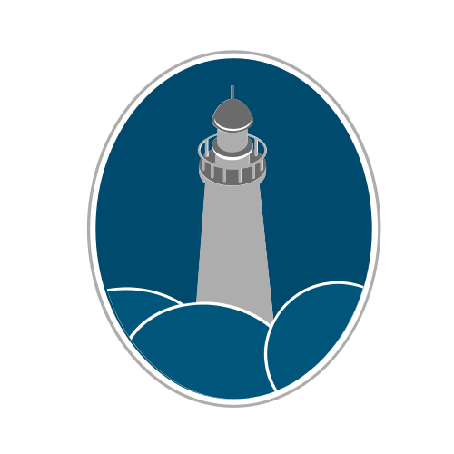 Blue Lighthouse Rocks  Logo